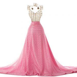 Tecido Tule Bordado com Fios Acetinados Floral Cor de Rosa