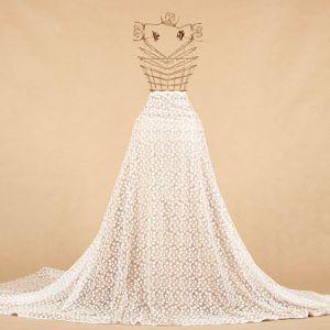 Tecido Tule Bordado com Fios Acetinados Floral Off White