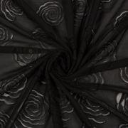 Tecido Tule Bordado com Musseline Floral Preto