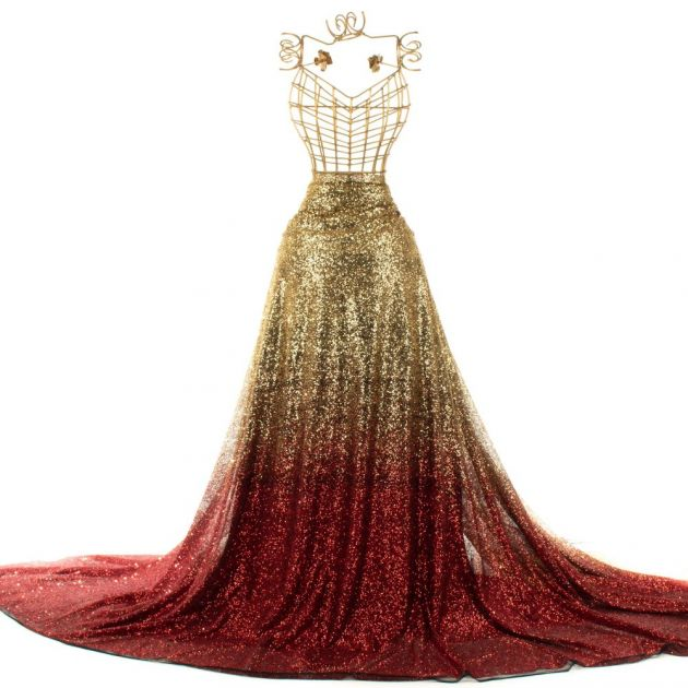 Tecido Tule de Glitter Degradé Dourado e Vermelho