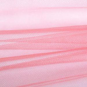 Tecido Tule Francês com Brilho Coral Rosado