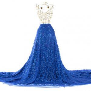 Tecido Tule Glitter Arabesco Azul Royal