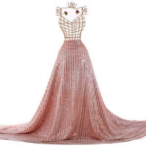 Tecido Tule Glitter Listrado Rosé Nude