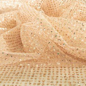 Tecido Tule Glitter Pesado Cor Nude