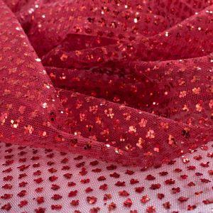 Tecido Tule Glitter Pesado Vermelho