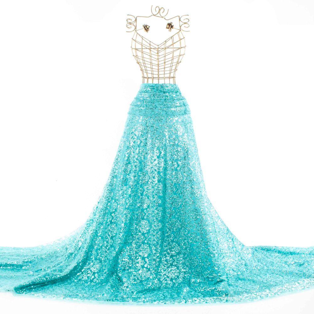 Tecido Tule Glitter Verde Tiffany