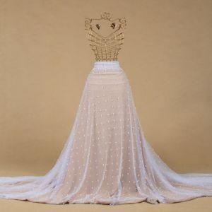 Tecido Tule Illusion com Aplicação de Pérolas Branco