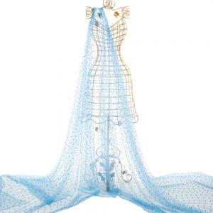 Tecido Tule Ilusion com Aplicação de Pérolas Azul Serenity