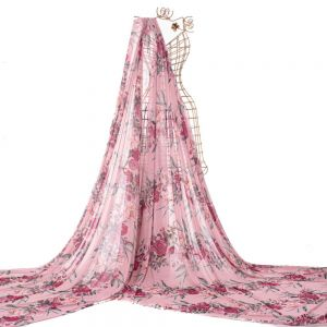 Tecido Tule Span Estampa Floral Rosa