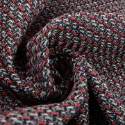 Tecido Tweed Preto e Vermelho