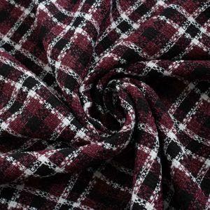 Tecido Tweed Xadrez Vinho
