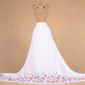 Tecido Viscose Branco Barrado Bordado Floral
