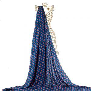 Tecido Viscose Doncella Azul Marinho Estampa Romã