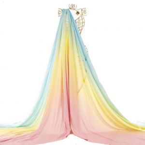 Tecido Viscose Doncella Estampa Tie Dye Rosa, Amarelo e Azul