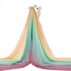 Tecido Viscose Doncella Estampa Tie Dye Tiffany e Laranja