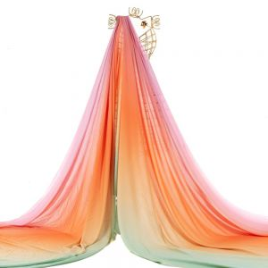 Tecido Viscose Doncella Estampa Tie Dye Verde, Coral e Rosa