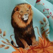 Tecido Viscose Estampa Doncella Rei Leão Azul Tiffany