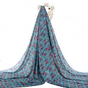 Tecido Viscose Estampa Floral Azul Denim Claro