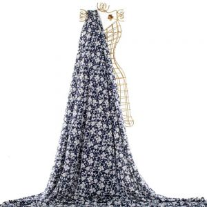 Tecido Viscose Estampa Floral Azul Marinho