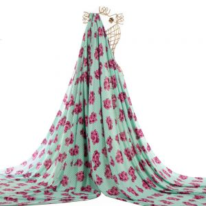 Tecido Viscose Estampa Floral Listrado Verde Jade