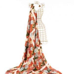 Tecido Viscose Estampa Floral Marrom Ferrugem