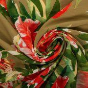 Tecido Viscose Estampa Floral Verde Oliva
