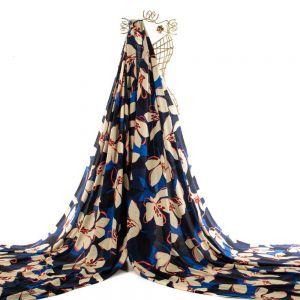 Tecido Viscose Estampa Maxi Floral Azul Marinho