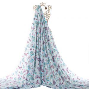 Tecido Viscose Estampa Ramos de Flores Azul Celeste Claro