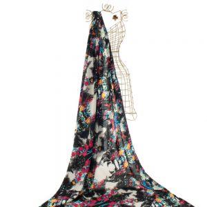 Tecido Viscose Estampada Floral Preto