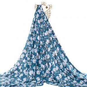 Tecido Viscose Premium Estampa Tropical Azul Safira
