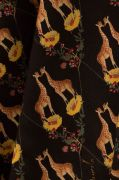 Tecido Viscose Preta Estampa Doncella Girafas