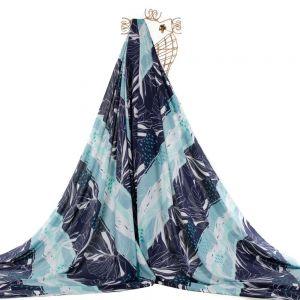 Tecido Viscose Trama de Linho Estampa Tropical Azul Marinho e Tiffany