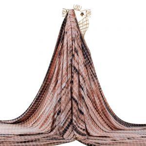 Tecido Viscose Twill Estampa Tie Dye Cor Pêssego Queimado