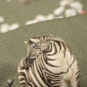 Tecido Viscose Verde Militar Estampa Doncella Zebras Floridas