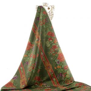Tecido Zibeline de Seda Pura Estampa Floral Verde
