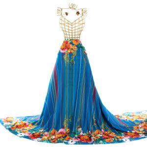 Toque de Seda Barrado Azul Royal